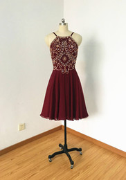 $enCountryForm.capitalKeyWord NZ - 2019 Short Burgundy Prom Dresses Halter Chiffon Backless Real Photos Cheap Designer Sparkly Beading Sequined Rhinestones Homecoming Party