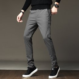 dark clothes men NZ - Dark Gray Men's Pants All Match Slim Fit Gentlemen Formal Wear Pants Men Casual Simple Business Trousers Men Clothes 2019 28-38