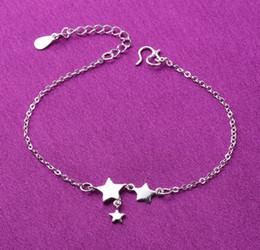 Vente en gros bracelets de cheville bracelets 9 styles en argent sterling 925 cheville bijoux avec star ball fleur pendentif livraison gratuite