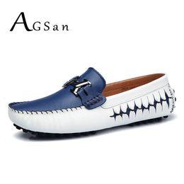 $enCountryForm.capitalKeyWord Australia - Agsan Men Loafers Genuine Leather Casual Shoes Slip On Mens Boat Shoes Italian Designer Driving Shoes Moccasins Blue Black Flats MX190817