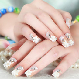 $enCountryForm.capitalKeyWord NZ - 24 Pcs  Set False Nails Rhinestones Crystal 3D Design Acrylic False Nail Tips Wedding Bridal Finger Nail Tips OA66
