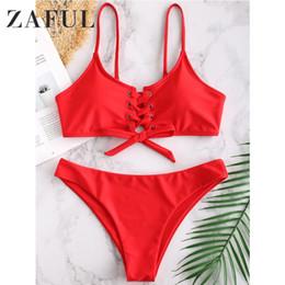 Swimsuit Strap Australia - ZAFUL Sexy Swimsuit Lace Up Spaghetti Strap Bikini Set Bathing Suit Wire Free Padded Swimwear Beach Suit For Women 2019