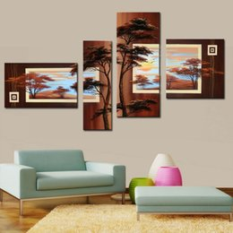 4 piece canvas art online shopping - High Skill Artists Handmade Beautiful Tree Pine Landscape Oil Painting on Canvas Piece Wall Art for Home Decor Unframed