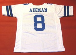 football stitch Canada - Cheap retro #8 TROY AIKMAN CUSTOM MITCHELL & NESS Jersey white Mens Stitching High-end Size S-5XL Football Jerseys College NCAA