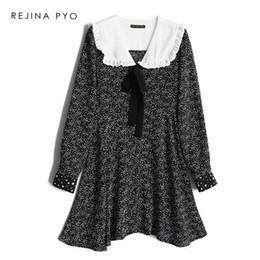 a3ac5dff9757 REJINAPYO Women's Sweet White Polka Dot Printed Mini Dress Peter Pan Collar  Female High Waist Vintage A-line Dress New Arrival