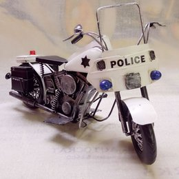 Vintage motorcycle models online shopping - Creative Motorcycle Model Toy Tinplate Vintage Harley Police Motor Handmade Ornament Party Kid Birthday Gift Collecting Home Decoration