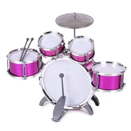 musical instruments for children Canada - Children Kids Drum Set Musical Instrument Toy 5 Drums with Small Cymbal Stool Drum Sticks for Boys Girls