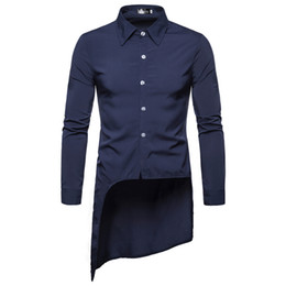Long Tail Shirts Australia - 2019 New Foreign Trade Men's Leisure Fashion Personality Tailoring Long Swash Tail Square Collar Row Button Long Sleeve Shirt