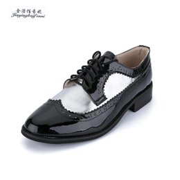 80fb32af723 Fashion Round Toe Lace Up Patent Leather Women Flat Shoes Size 33-47 Woman  Vintage Carved Oxford Shoes For Women Derby shoes  11239