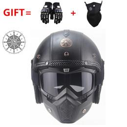 Free m helmet online shopping - PU Leather Helmets Motorcycle Chopper Bike helmet vintage motorcycle helmet with goggle mask