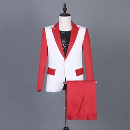 Punk Style Suit NZ - Red splice blazer men suits designs jacket mens stage costumes for singers clothes dance star style dress punk masculino homme