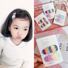 $enCountryForm.capitalKeyWord Australia - Girls Rainbow BB Hair Clip Sequins Shiny Hairpins Kids Barrettes Geometry Hairpins Candy Color Hairstyle Women Hair Accessories LJJJ87