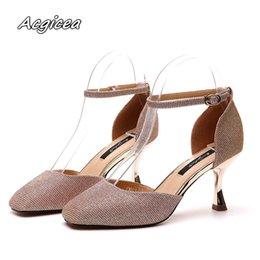 Female Dresses NZ - Designer Dress Shoes summer sandals women 2019 new set toe head solid color fine heels lotus leaf Female high heel sandals f129