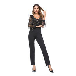 Fitted Jumpsuits Australia - Black Sequin Embellished Mesh Sleeve Fitted Long Sleeve Skinny Jumpsuit Autumn Party Women Sexy Club Metallic Fringe Jumpsuits