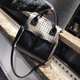 $enCountryForm.capitalKeyWord Australia - Luxury Women Plaid Wool+Leather Shoulder Bag Vintage Designer Handbag High Quality Casual Totes Fashion Patchwork Crossbody Bags