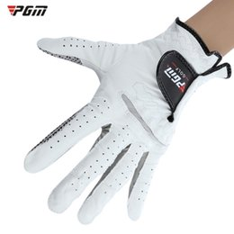 Men Gloves Leather Sheepskin Australia - PGM Genuine Leather Left Hand Soft Ventilated Sheepskin Golf Glove for Man Sheepskin Slip-resistant Golf Gloves Men Leather Sports Gloves 1B