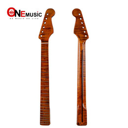 $enCountryForm.capitalKeyWord UK - 21 Fret Tiger Flame Maple with Back Strip 6MM Green Dot Brush-Off Yellow Glossy for ST Electric Guitar Neck Replacement Parts