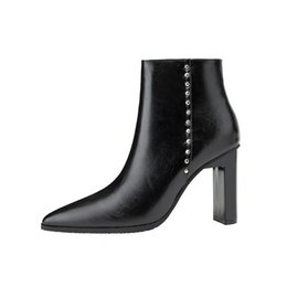 e9c24631ea19 High Heels Ankle Boots For Women Autumn Winter Faux Leather Pointed Toe Ladies  Shoes Warm Plush Sexy Black White Martin Boots