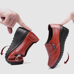 fce0d74e8126 Designer Dress Shoes EOEODOIT Mother Leather Wedges Heel Round Toe Med Heel  Slip Resistance Spring Autumn 2019 Women Work