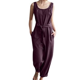 cute casual jumpsuits UK - wholesale Women With Belt Solid Linen Sleeveless Casual Cute Pockets Jumpsuits Playsuits feminino rompers jumpsuit C3018