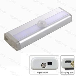 rechargeable batteries NZ - LED Night Lights Cabinet Lights 6LED PIR USB Rechargeable Lithium Battery Wireless Lamp Light Bar Magnetic Strip Wall Light White DHL