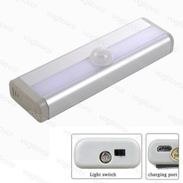 Wholesale LED Cabinet Lights Motion Sensor LED PIR USB Rechargeable Lithium Battery Wireless Lamp Light Bar Magnetic Strip Wall Light White DHL