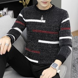 db43a532415b4d 2018 Autumn Winter Pullover Men Christmas Sweater Jumper O Neck Striped  Pattern Slim Fit Knitted Christmas Sweaters Knitwear