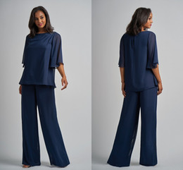 Navy Suit Fashion Australia - Fashion Navy Two Pieces Mother of the Bride Groom Suits Designer Halter Sleeves Chiffon Mob Pant Suits Wedding Party Evening Dress Gowns