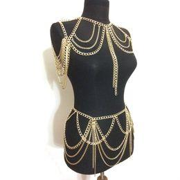 $enCountryForm.capitalKeyWord Australia - Hot 2019 Fashion Jewelry Accessories Punk Heavy Metal Multilayer Tassel Gold Body Ketting Long Necklace Statement For Women J190625