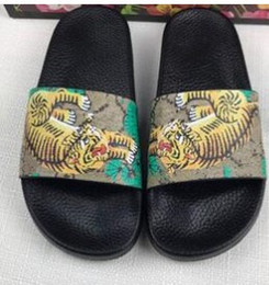 tiger slippers Australia - 2019 size 35-48 tiger snake flower men women slippers slip on with orange box luxury slipper