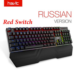 Ingrosso Tastiera meccanica HAVIT 104 tasti rosso blu interruttore tastiera da gioco cablata luce RGB anti-ghosting russo HV-KB432L