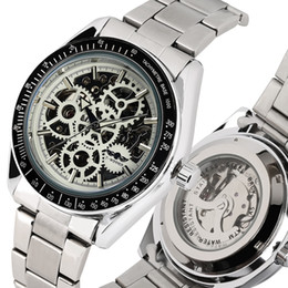 $enCountryForm.capitalKeyWord Australia - Stainless Steel Skeleton Automatic-self-winding Mechanical Watches for Male,Well Wearing Stainless Steel Watch Strap for Men,Women