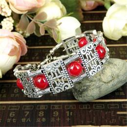 $enCountryForm.capitalKeyWord Australia - Vintage Bohemia Style Tibetan Silver Red Blue Stone Bracelets Square Beads Carving Charm Bangles&Bracelets For Women Jewelry