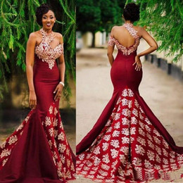 Long fitted bLack evening gowns online shopping - 2020 Long Mermaid Burgundy Prom Evening Dresses Lace Applique High Neck African Sexy Formal Party Gown Fit and Flare Dress