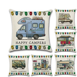 Happy Campers Pillow Case 45*45cm Touring Car Pillowcase Throw Linen Cushion Cover Home Cafe Office Decor Gift GGA3233-1 on Sale