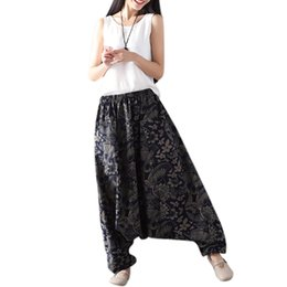 brown linen pants women NZ - Unisex Vintage Print Loose Harem Pants Casual Elastic High Waist Cotton Linen Lantern Pants Wide Leg Trousers Hip Hop Bl
