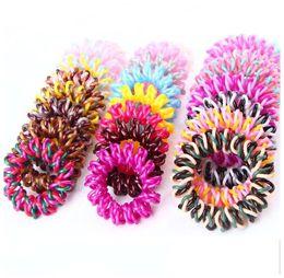 Hair Elastic Bracelet UK - 4.5cm High Quality Telephone Wire Cord Hair Tie Girls Elastic Braid Hair Band Ring Rope Bracelet Stretchy Scrunchy
