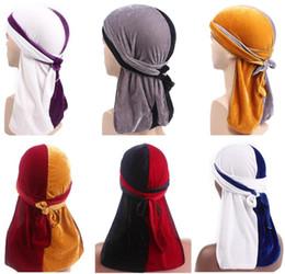 Discount summer skull caps for men - Double Color Velvet Turban Hat Durag Hip Hop Headwear Headscarf Long Tail Headwrap Skull Cap Pirate Hat Bandana For Men