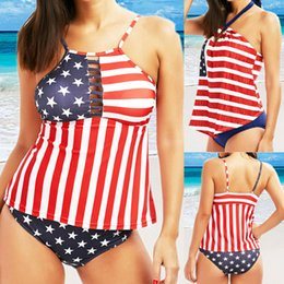flag swimsuit ladies Australia - Summer Fashion Women Stylish Flag Print Two Piece Swimwear Lady Holiday Bandage Push-Up Padded Swimsuit Bathing Suit