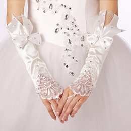 white fingerless wedding long gloves Australia - 2019 White Long Satin Elegant for Bride Bridal Wedding Gloves Women Finger Glove Wedding accessories