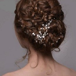 Bridal hair styles online shopping - Bridal Wedding Crystal Simulated Pearl Flower Hair Pins Handmade Headpiece Brides Bridal Hair Styling Accessories