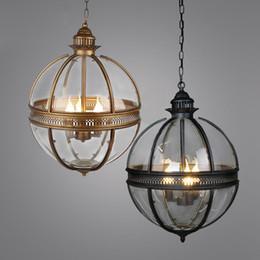 Glass Globe For Light Australia - American Vintage Globe Chandeliers 3 Lights E14 Transparent Glass Metal Painting Loft Chandeliers for Living Dinning Room