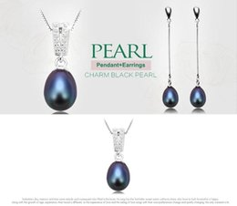 $enCountryForm.capitalKeyWord Australia - 925 Sterling Silver Chain Natural Freshwater Pearl Pendant Earrings Fashion Jewelry Set For Women 8-9mm Pearl Black