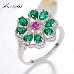 Genuine Gemstone Sterling Silver Australia - Kuololit Emerald Ruby Gemstone Rings For Women Genuine 925 Sterling Silver Ring Vintage Flower Gemstone Wedding Valentine's Gift J190613
