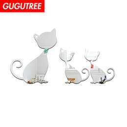 crystal sticker decals Australia - Decorate Home 3D cats animal cartoon mirror art wall sticker decoration Decals mural painting Removable Decor Wallpaper G-429