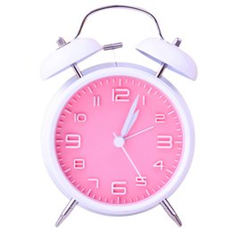 alarm clock night light 2020 - 4 Inch Double Bell Alarm Clock with Night Light Home Office Bedroom Clock Classic Round Desktop Table Bedside Clocks Hom