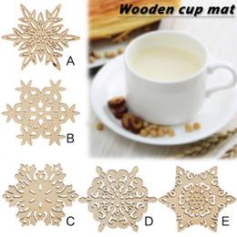 Beautiful Mats NZ - 1PC Snowflake Table Mat Wooden Table Pad Beautiful 6 Types Snow Shape Mug Coasters Chic Holder Coffee Tea Drinks Cup Pad