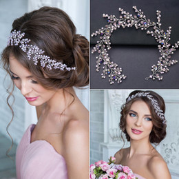 hair vine crystal Australia - Luxury Hanmade Pink Crystal Beads Bridal Headband Rhinestone Wedding Hair Accessories Hair Vine Brides Hairbands Crown Headpiece J 190430