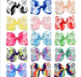 kids christmas hair bows Canada - 4 Inch Girls Rainbow Bow Hair Clips Accessories Kids Large Headwear Barrette Ribbon Bowknot Hairpin Clips Boutique Bows Hair gift 798