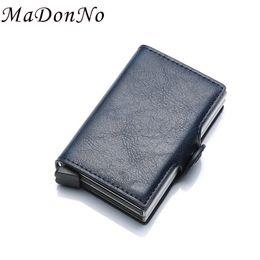 Rfid Print Australia - MaDonNo Rfid Wallet Men Money Bag Thin Mini Purse Male Metal Aluminium Card Wallet Magic Slim Small Smart for men Vallet #160070